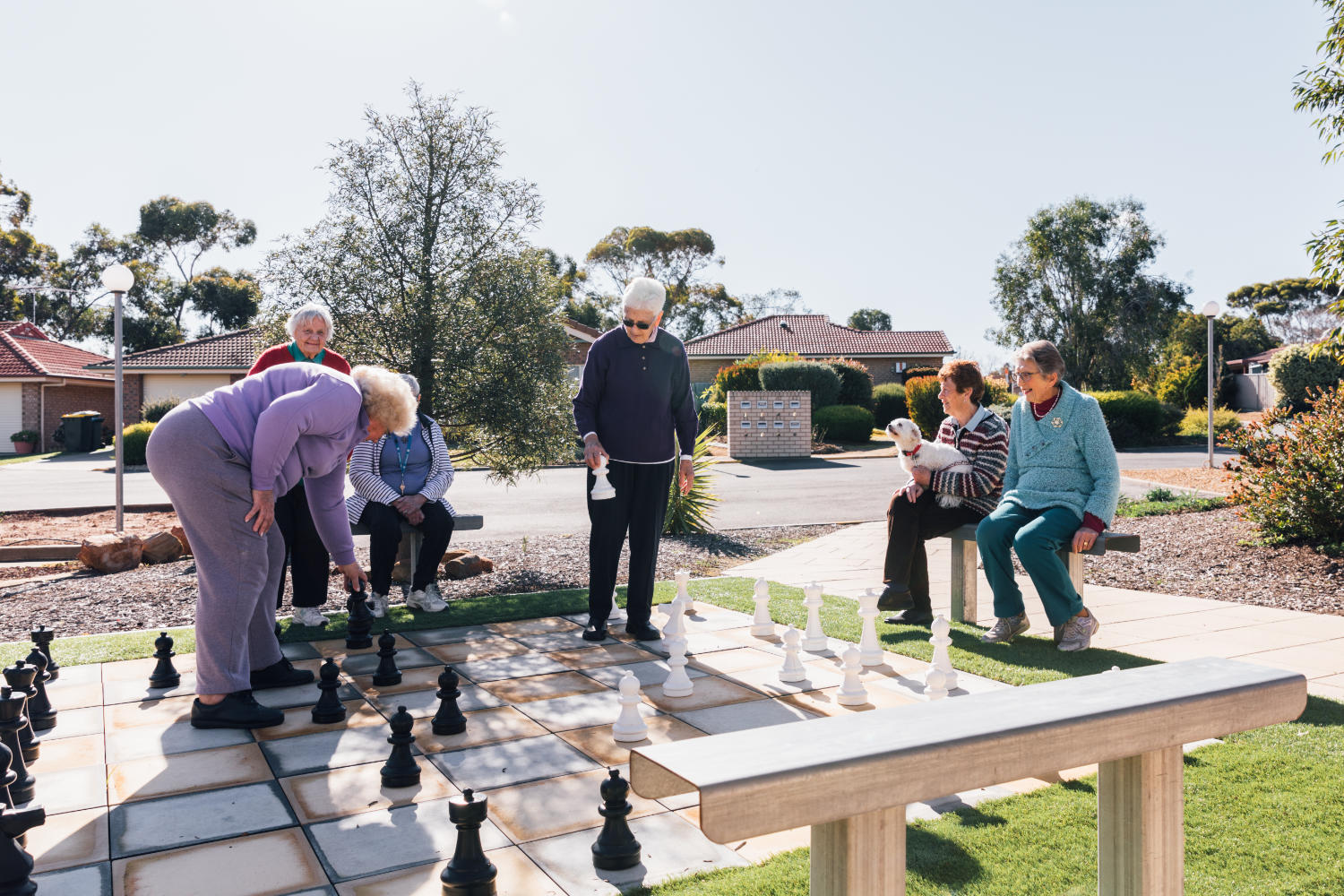 Murray Bridge Lutheran Villages ladies playing chess outdoors