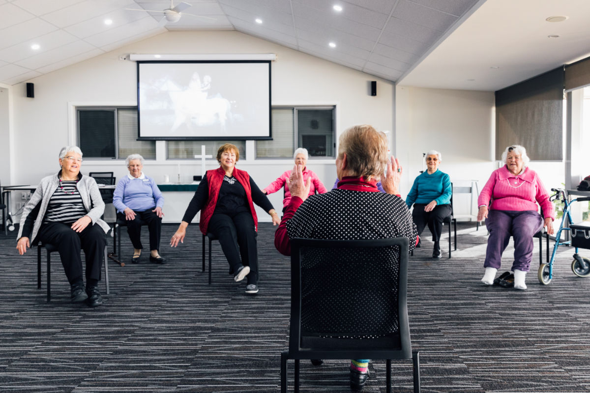 Residents participating in exercise class